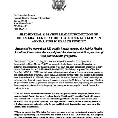 Image for Senator Blumenthal and Congresswoman Matsui Introduce Legislation to Protect Prevention and Public Health Funding