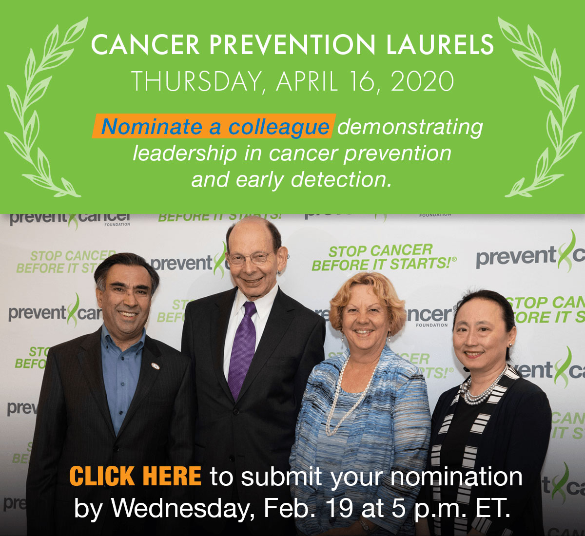 Cancer Prevention Laurels - Nominate a colleague