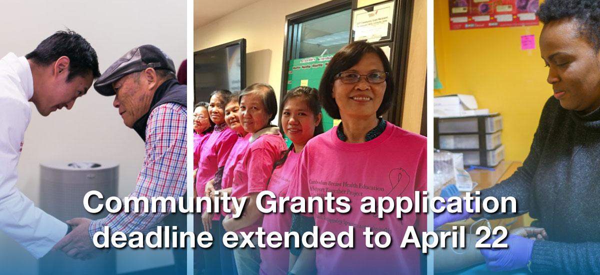 Community Grants application deadline extended to April 22